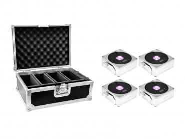 Eurolite Set 4x AKKU IP Flat Light 1 chrom + Case