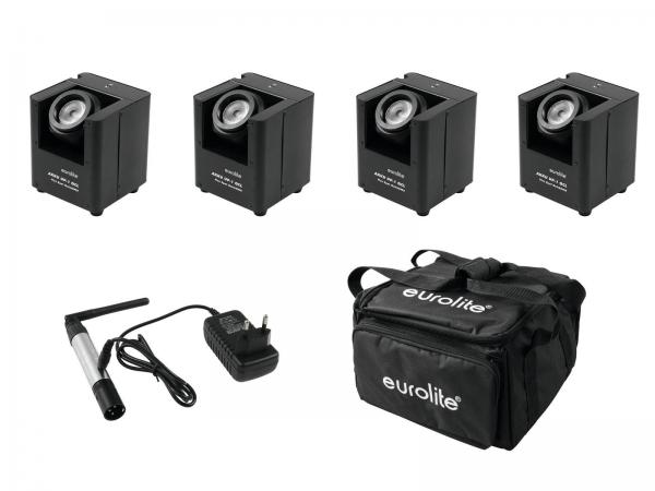 Eurolite Set 4x AKKU UP-1 + SB-4 Soft-Bag + QuickDMX Funksender